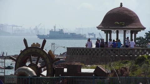 Beautiful coastal scenery & dock port.Cruise boats... Stock Video Footage