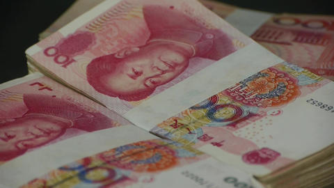Large Sums Of Money RMB.Financial Freedom.Mao Zedong Leader Avatar stock footage