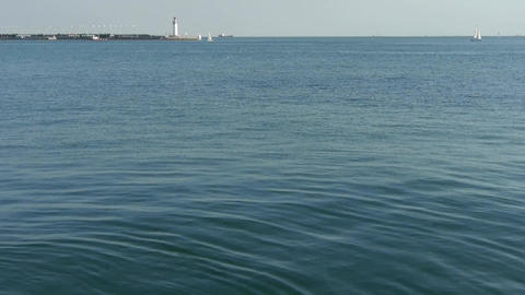 water surface.Sailboat sailing in sea,relying on... Stock Video Footage