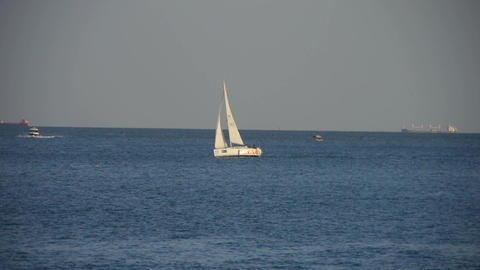 Sailboat,yachts sailing in sea.water surface travel tourism Footage
