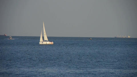 Sailboat,yachts sailing in sea.water surface travel tourism Stock Video Footage