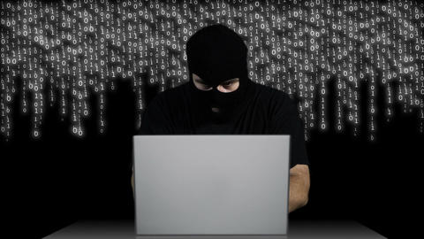 Hacker Working Table Arrested 1 Stock Video Footage
