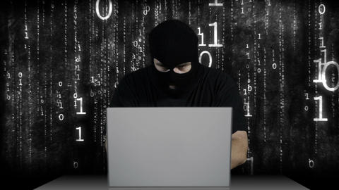 Hacker Working Table Arrested 5 Stock Video Footage