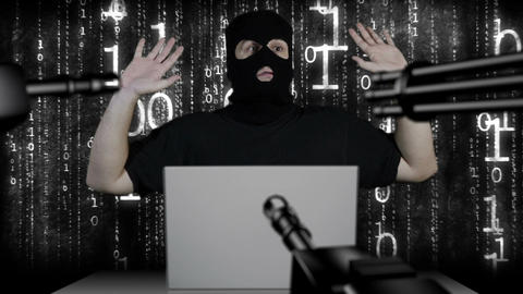 Hacker Working Table Arrested 5 Footage