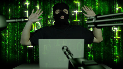 Hacker Working Table Arrested 7 Stock Video Footage