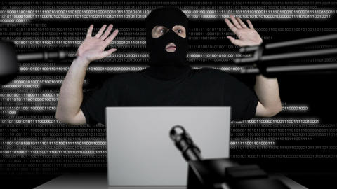 Hacker Working Table Arrested 9 Stock Video Footage