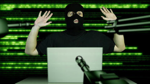 Hacker Working Table Arrested 11 Stock Video Footage
