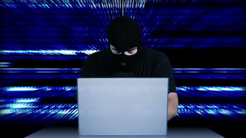 Hacker Working Table Arrested 15 Stock Video Footage