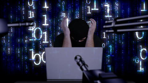 Hacker Working Table Arrested 23 Stock Video Footage