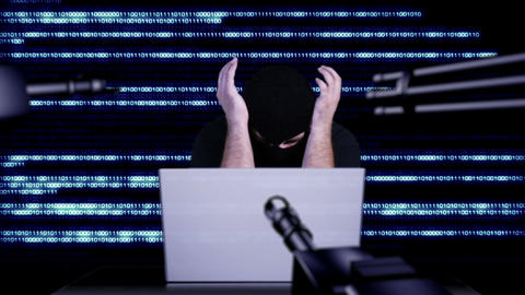 Hacker Working Table Arrested 27 Stock Video Footage
