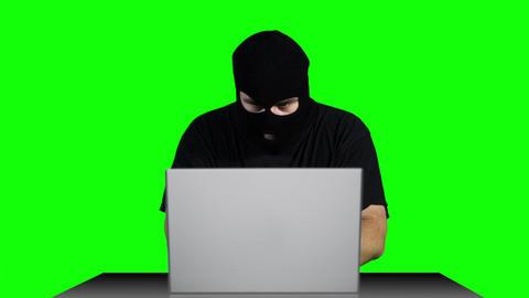 Hacker Working Table Arrested Greenscren 4 Stock Video Footage