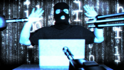 Hacker Working Table Arrested Matrix 2 Stock Video Footage