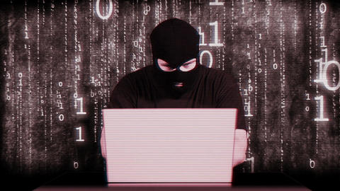 Hacker Working Table Arrested Matrix 6 Stock Video Footage