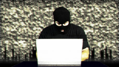 Hacker Working Table Fails Matrix 1 Stock Video Footage