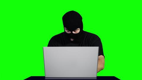 Hacker Working Table Greenscren 1 Stock Video Footage