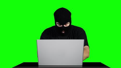 Hacker Working Table Success Greenscren 3 Stock Video Footage