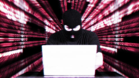 Hacker Working Table Success Tunnel Matrix 2 Stock Video Footage