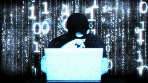Nervous Hacker Working Hard Table Matrix 1 Stock Video Footage