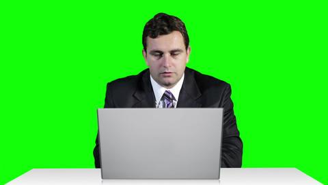 Young Businessman Overwork Table Computer Greenscren 19 Stock Video Footage