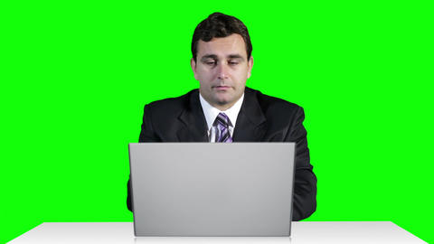 Young Businessman Overwork Table Computer Greenscren 19 Footage