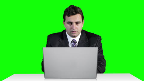 Young Businessman Overwork Table Computer Greenscren 19 Stock Video Footage