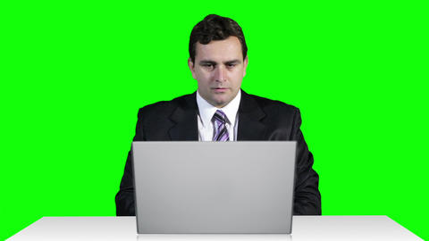 Young Businessman Working Table Terrible News Computer... Stock Video Footage