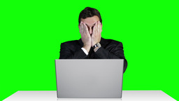 Young Businessman Working Table Terrible News Computer Greenscren 14 Footage