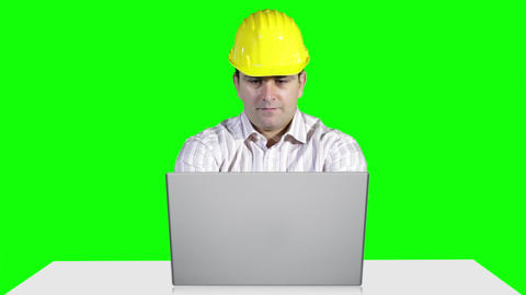 Young Engineer Working Table Computer Greenscren 6 Stock Video Footage