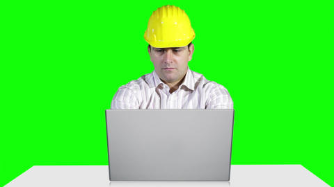 Young Engineer Working Table Computer Greenscren 6 Stock Video Footage