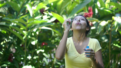 Blowing Soap Bubbles Stock Video Footage