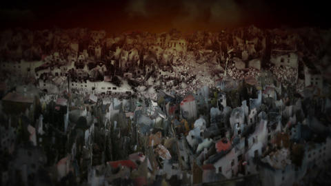 City in ruins Stock Video Footage