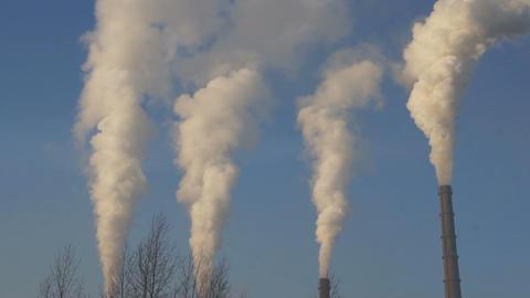 Smokestacks 02 static Stock Video Footage