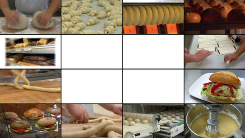 bakery bread montage animated on white 10866 Footage