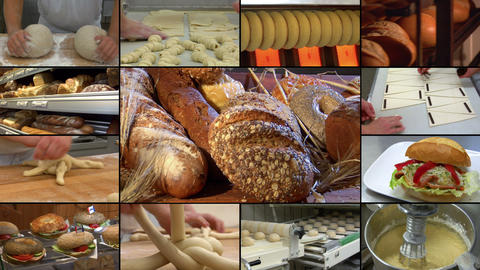 bakery bread montage animated on white 10866 Stock Video Footage