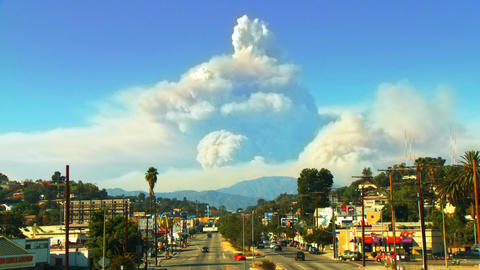 California Wildfire Time-lapse Composite Stock Video Footage