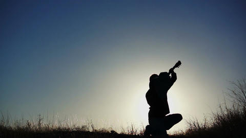 Silhouette Guitar in Air Pride Stock Video Footage