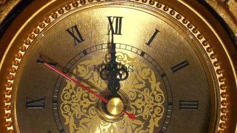 antique clock 12:00 macro Stock Video Footage