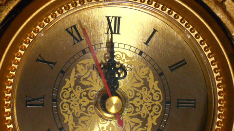 antique clock 12:00 macro Footage