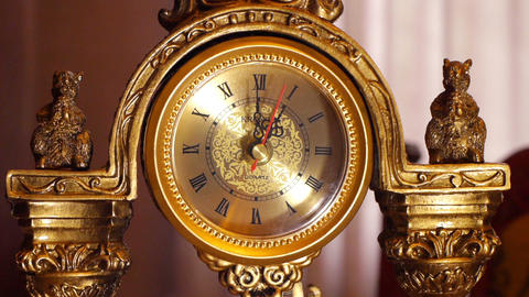 antique clock 1:00 Stock Video Footage