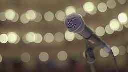 The microphone on the stage. Panorama Stock Video Footage