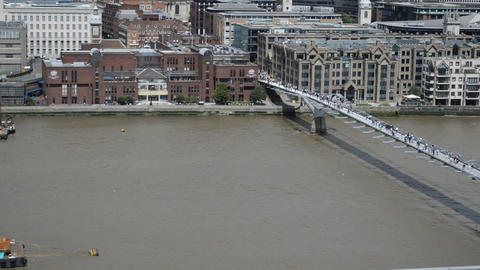View of the City of London and the Millennium Bridge (3) Footage