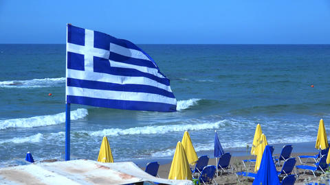 Greece Flag In The Wind. 4K Footage