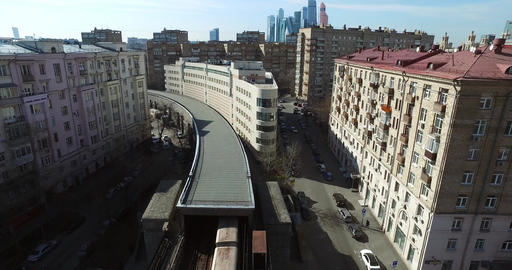 Aerial Subway Goes to Tunnel Moscow city Bridge Footage