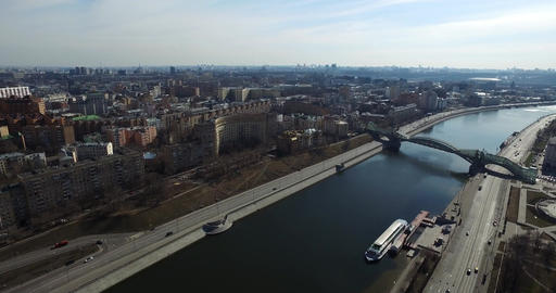 Aerial Moscow City River Bridge Footage