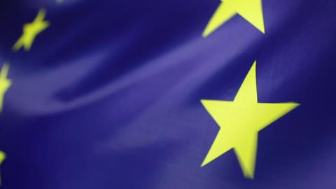 Closeup of a textile European Union flag Live Action