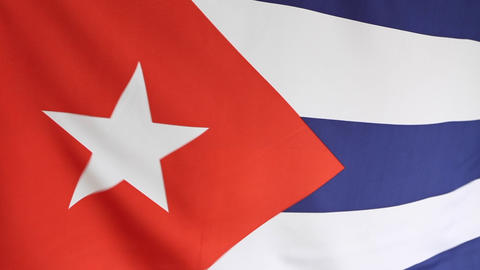 Closeup of national flag of Cuba in slow motion Footage