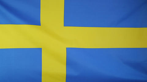 Textile flag of Sweden Footage