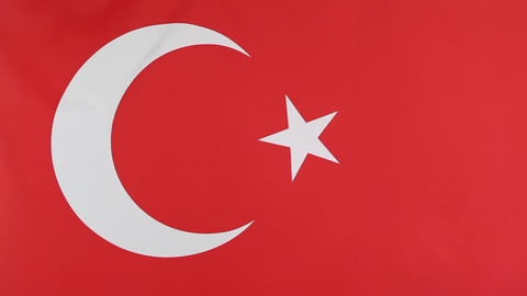 Closeup of national flag of Turkey in slow motion Footage