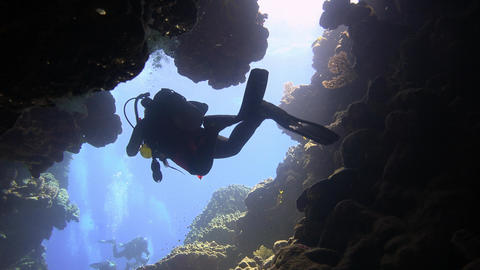 Exciting underwater diving in underwater caves of the reef Claudio. Diving in th Footage
