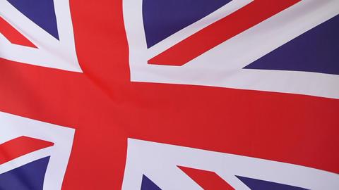 Closeup of a textile flag of United Kingdom Footage